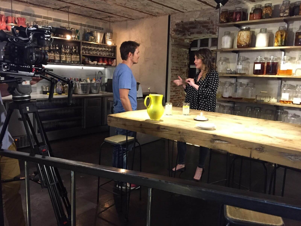 """Marina Estacio con Nino Redruello en el programa """"Cómete la vida"""" de TEN TV."""