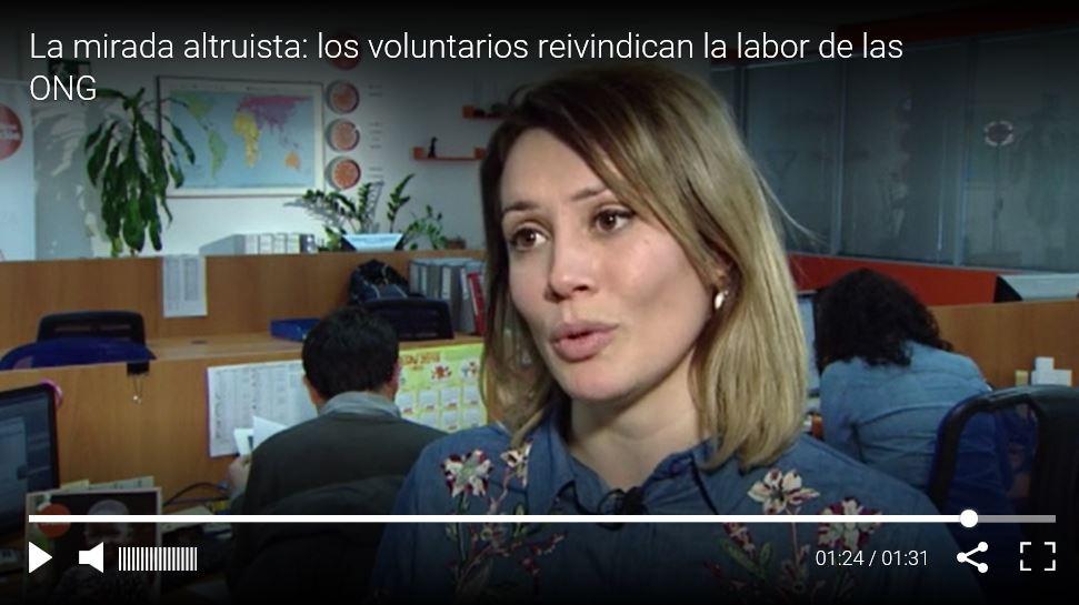 Marina Estacio voluntaria de Ayuda en Acción en informativos Cuatro