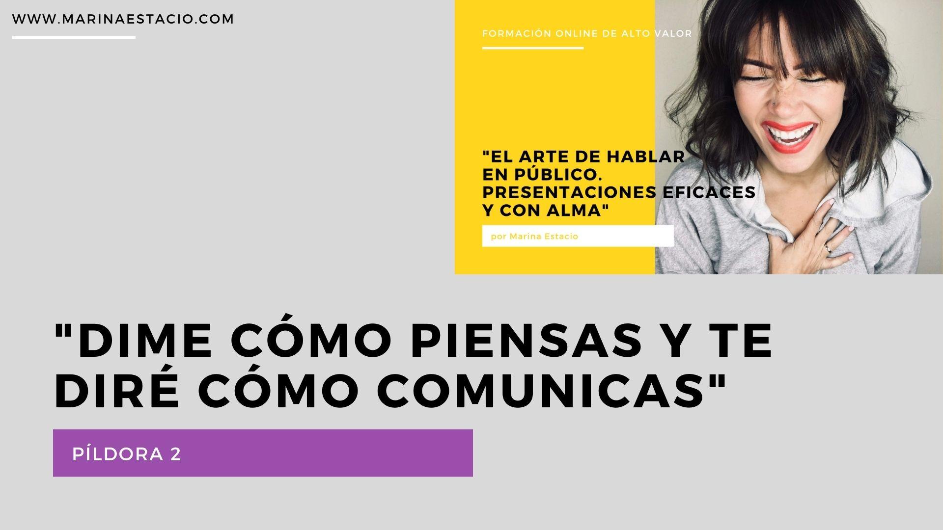 dime cómo piensas y te diré cómo comunicas. El arte de hablar en público. Marina Estacio.